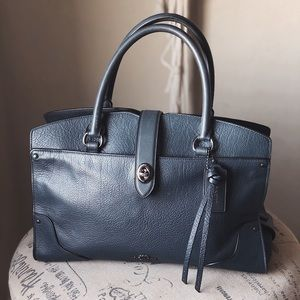 New COACH Mercer Teal Satchel in Grain Leather